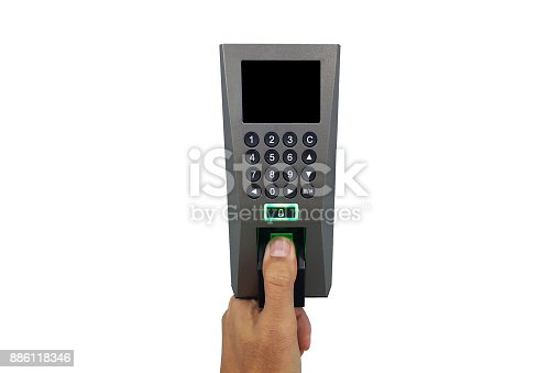 istock fingerprint and access control in a office building 886118346