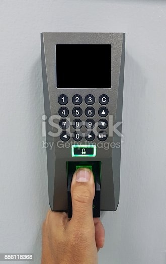 istock fingerprint and access control in a office building 886118368
