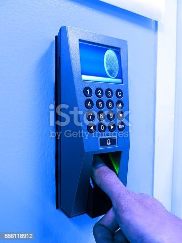 istock fingerprint and access control in a office building 886118912
