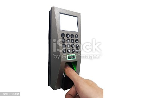 istock fingerprint and access control in a office building 886119068
