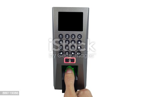 istock fingerprint and access control in a office building 886119086