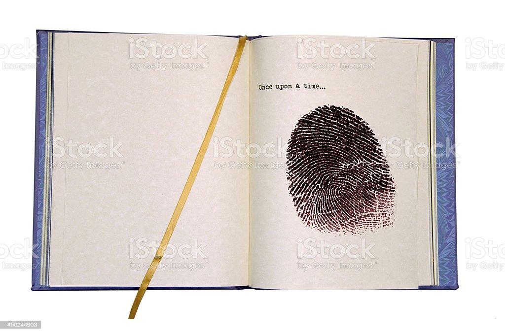 Fingerprint and Essay cliche stock photo