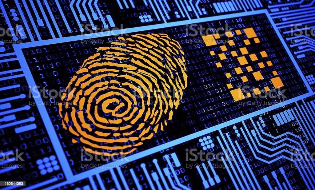 Fingerprint and QR Code in Orange in blue digital background royalty-free stock photo