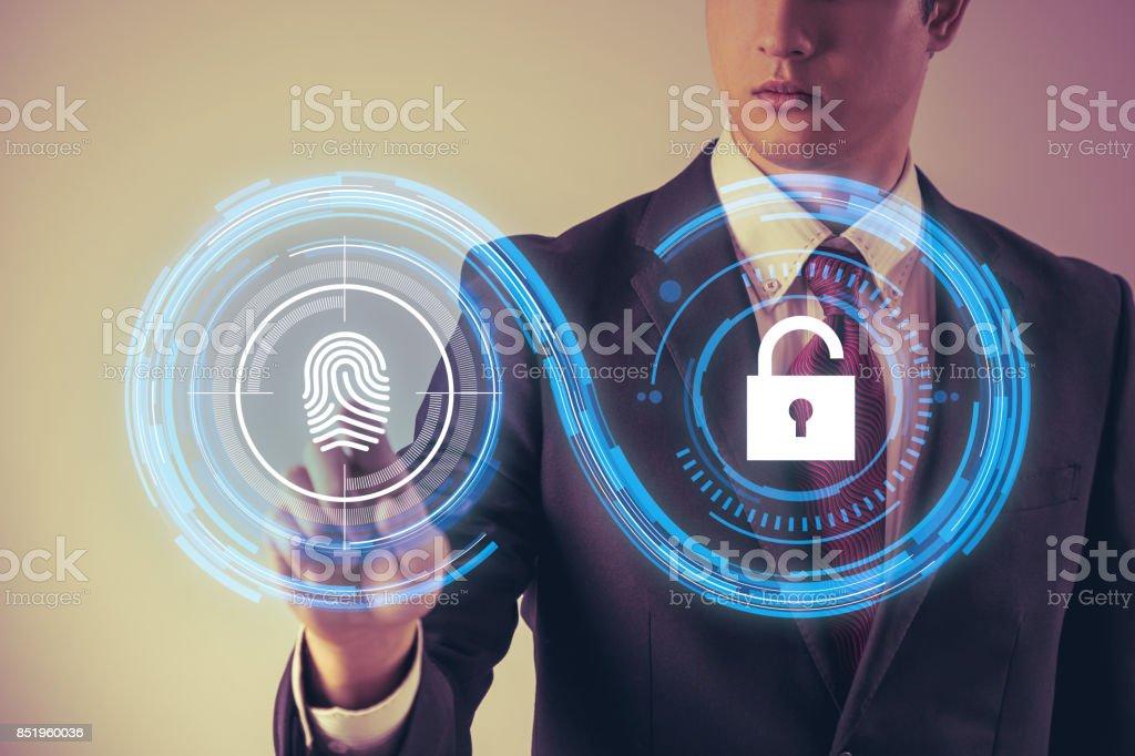 fingerprint authentication. biometric authentication concept. mixed media. stock photo