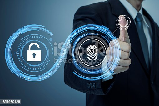 istock fingerprint authentication. biometric authentication concept. mixed media. 851960128