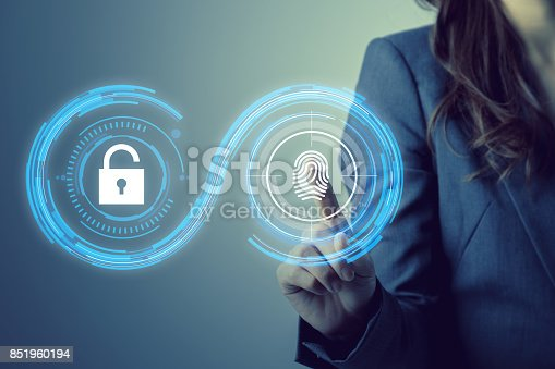 istock fingerprint authentication. biometric authentication concept. mixed media. 851960194