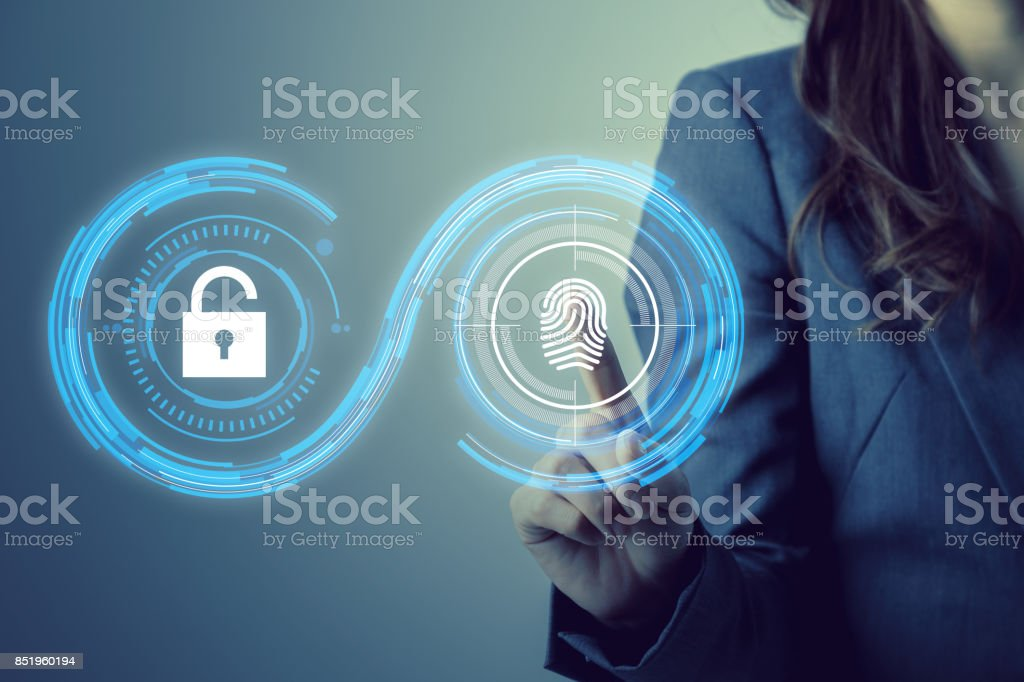fingerprint authentication. biometric authentication concept. mixed media. stock photo