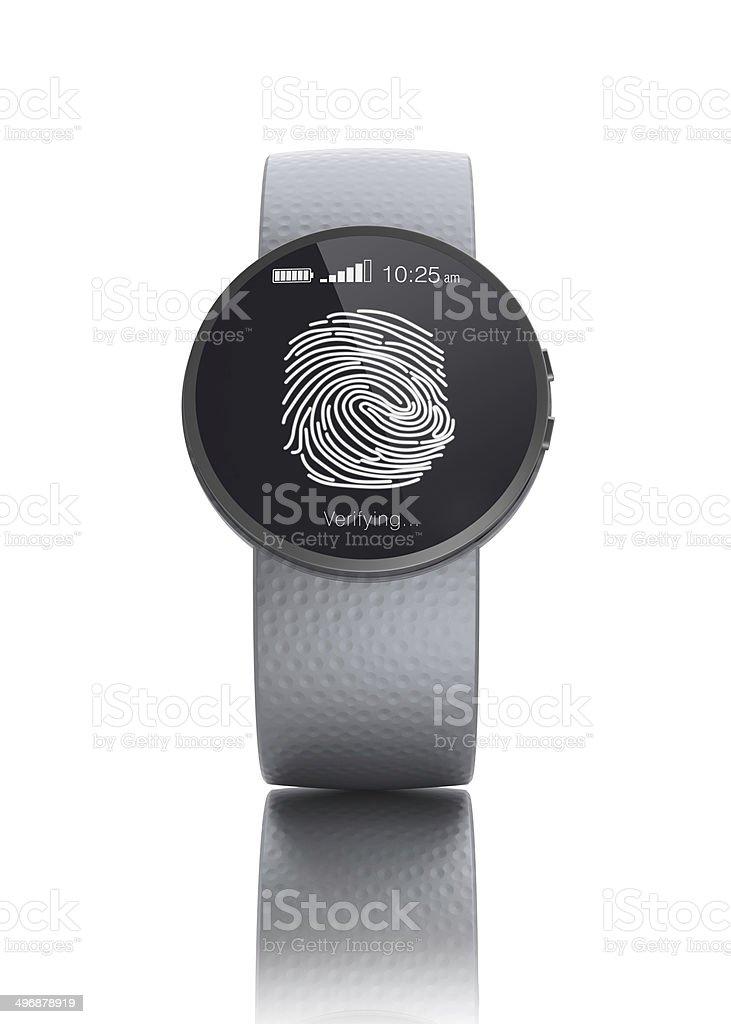 Fingerprint authentication for smartwatch stock photo