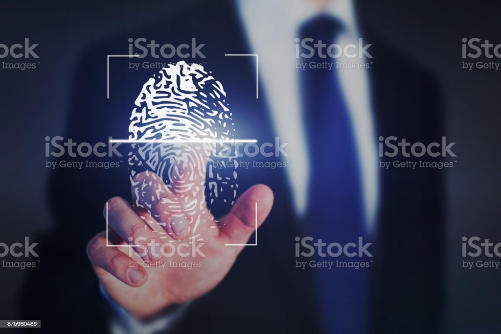 fingerprint authentication, internet security concept stock photo
