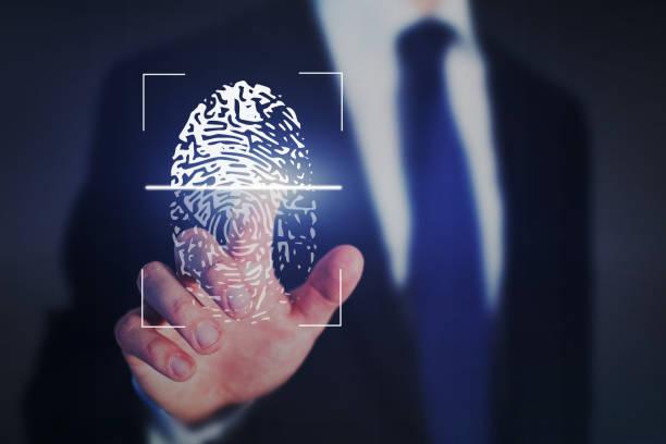 fingerprint authentication, internet security concept stock photo