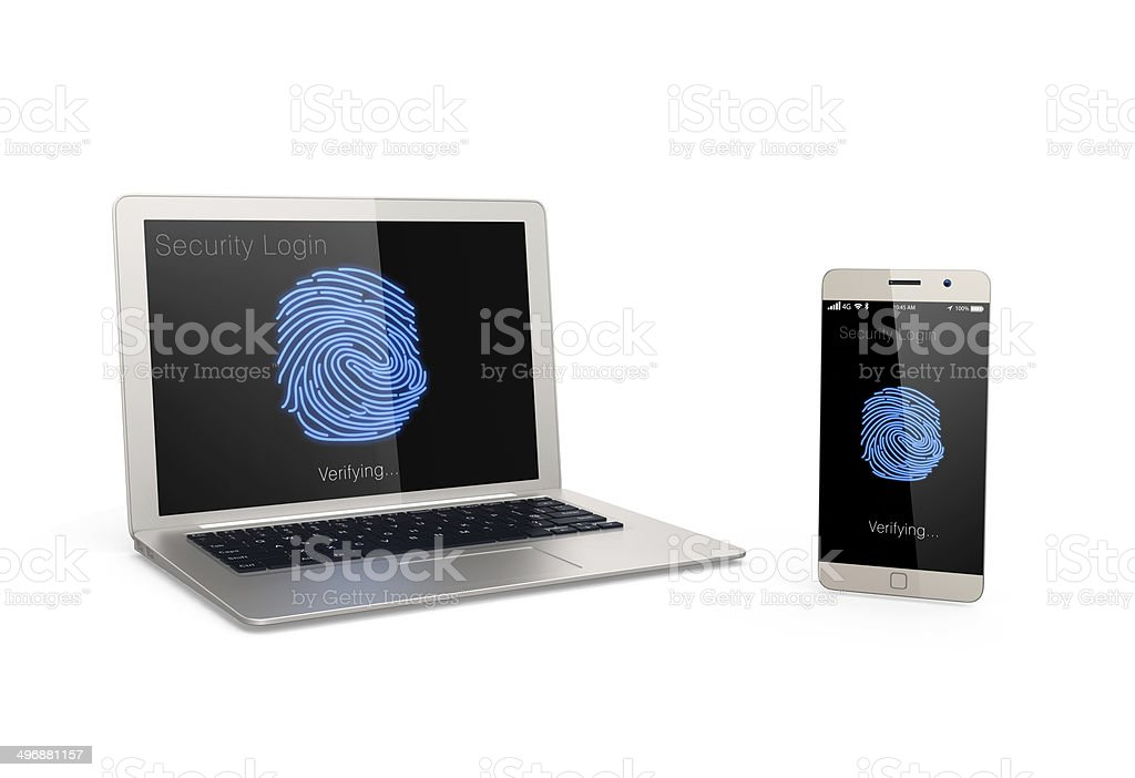 Fingerprint authentication system for mobile devices stock photo