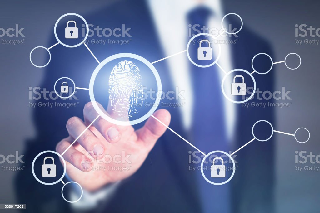 fingerprint authorisation access concept, data information security - foto de stock