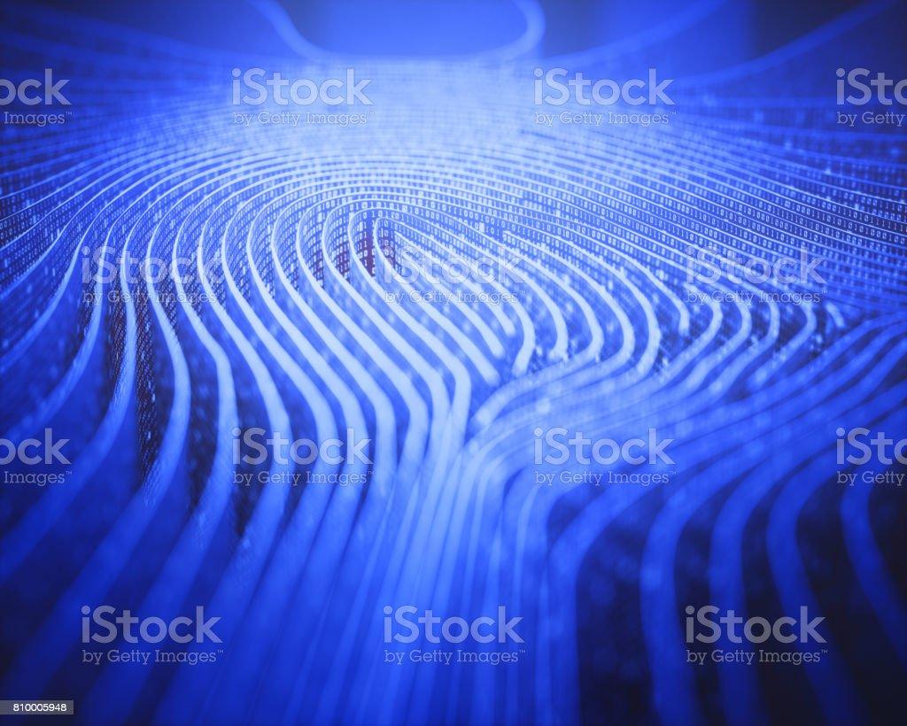 Fingerprint Binary Code Labyrinth stock photo