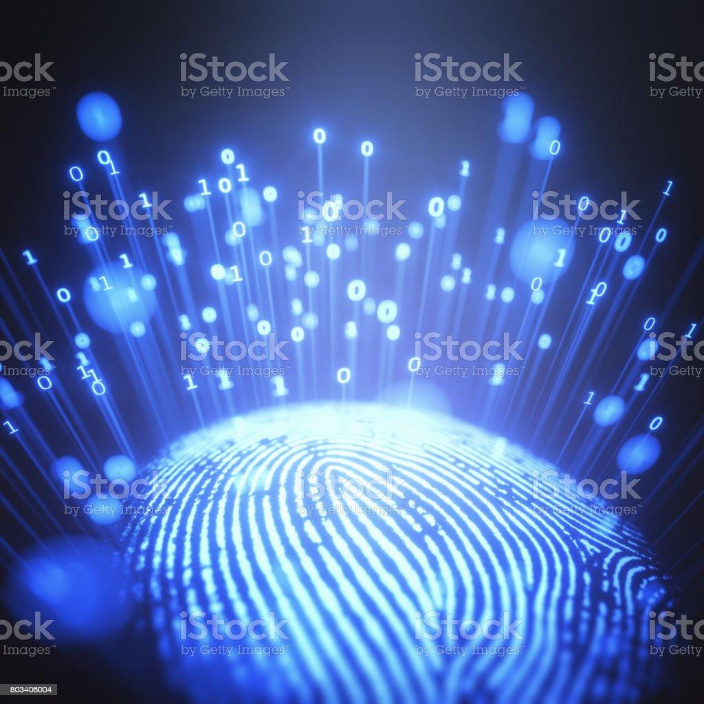 Fingerprint Binary Code stock photo