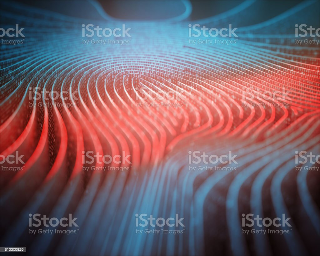 Fingerprint Binary Code Scanner stock photo