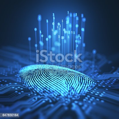 647830814 istock photo Fingerprint Binary Microchip 647830164