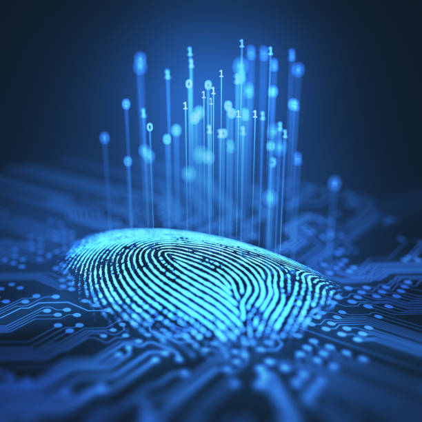 Fingerprint Binary Microchip stock photo