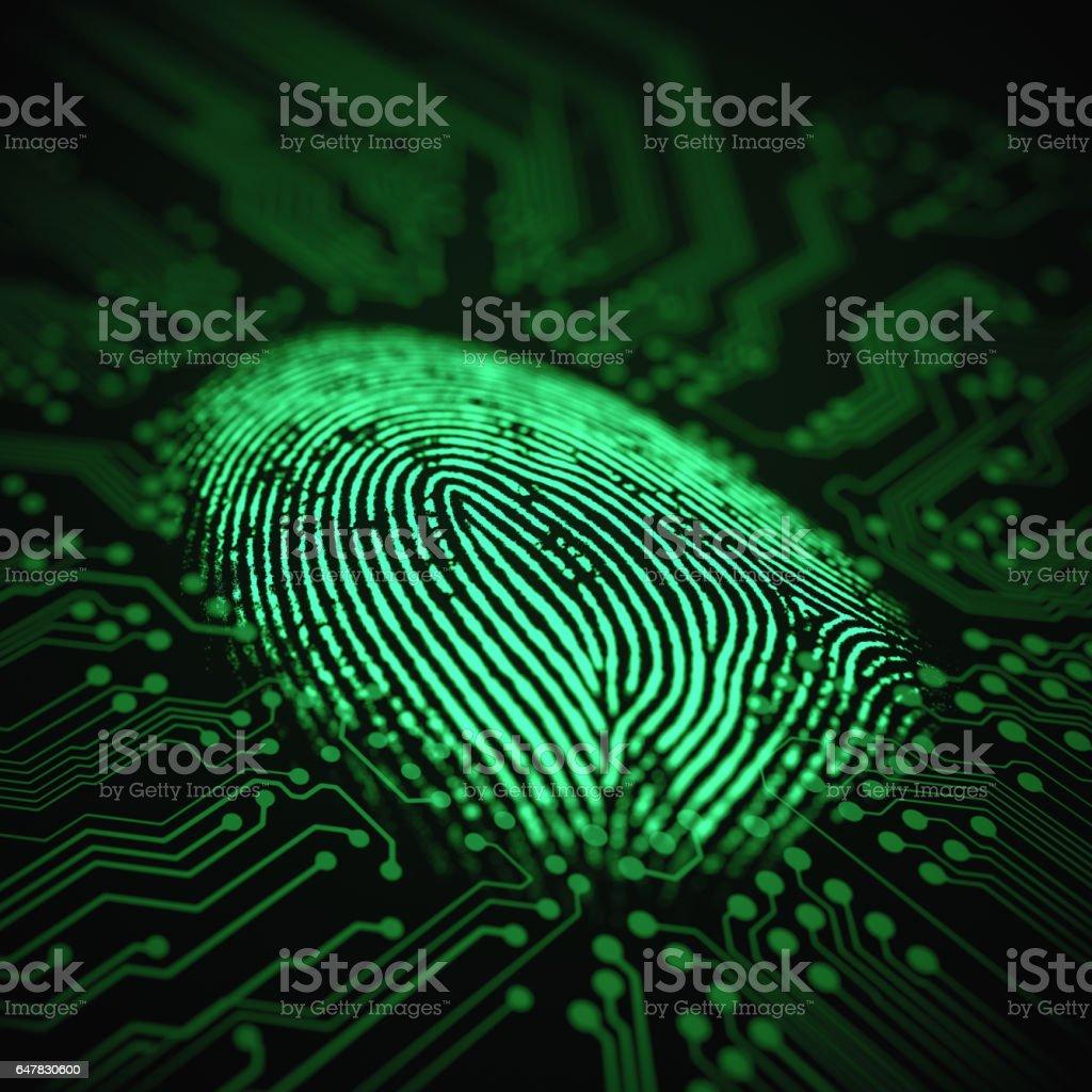 Fingerprint Binary Microchip stock photo