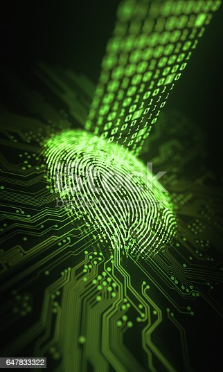 647830814 istock photo Fingerprint Binary Microchip 647833322