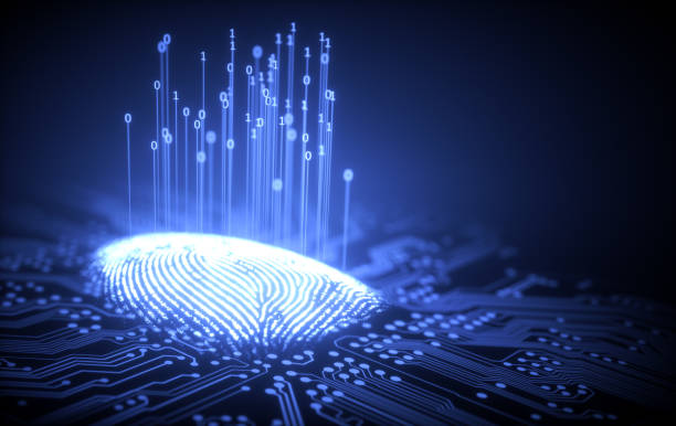 Fingerprint Binary Microchip 3D illustration. Fingerprint integrated in a printed circuit, releasing binary codes. biometrics stock pictures, royalty-free photos & images