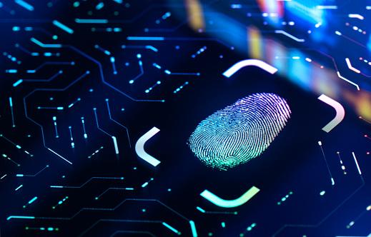 Fingerprint Biometric Authentication Button. Digital Security Concept