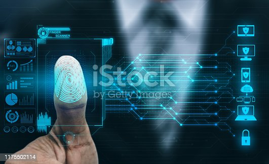 Fingerprint Biometric Digital Scan Technology. Graphic interface showing man finger with print scanning identification. Concept of digital security and private data access by use fingerprint scanner.