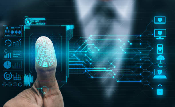 Fingerprint Biometric Digital Scan Technology. Fingerprint Biometric Digital Scan Technology. Graphic interface showing man finger with print scanning identification. Concept of digital security and private data access by use fingerprint scanner. privacy stock pictures, royalty-free photos & images