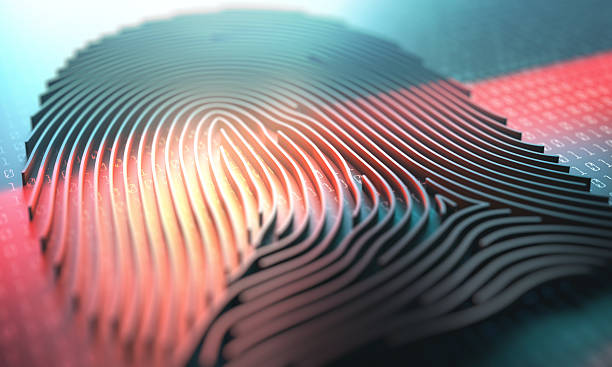 Fingerprint Biometric Reader 3d illustration of a laser scanner on a fingerprint embossed. biometrics stock pictures, royalty-free photos & images