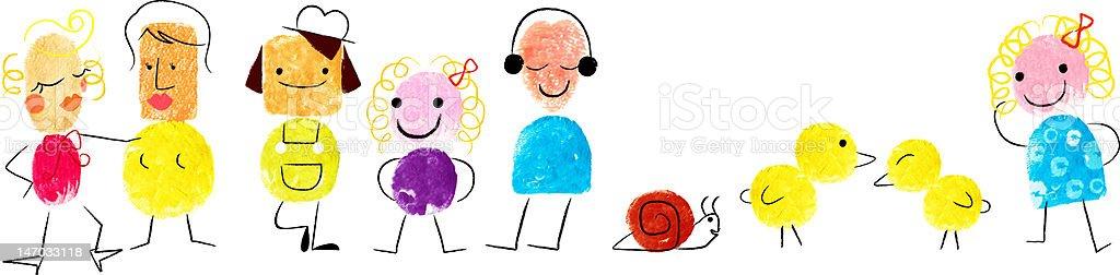 Fingerprint Cartoon Illustration royalty-free stock photo
