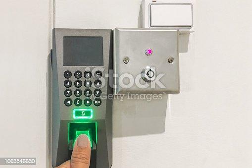 istock Fingerprint door lock 1063546630