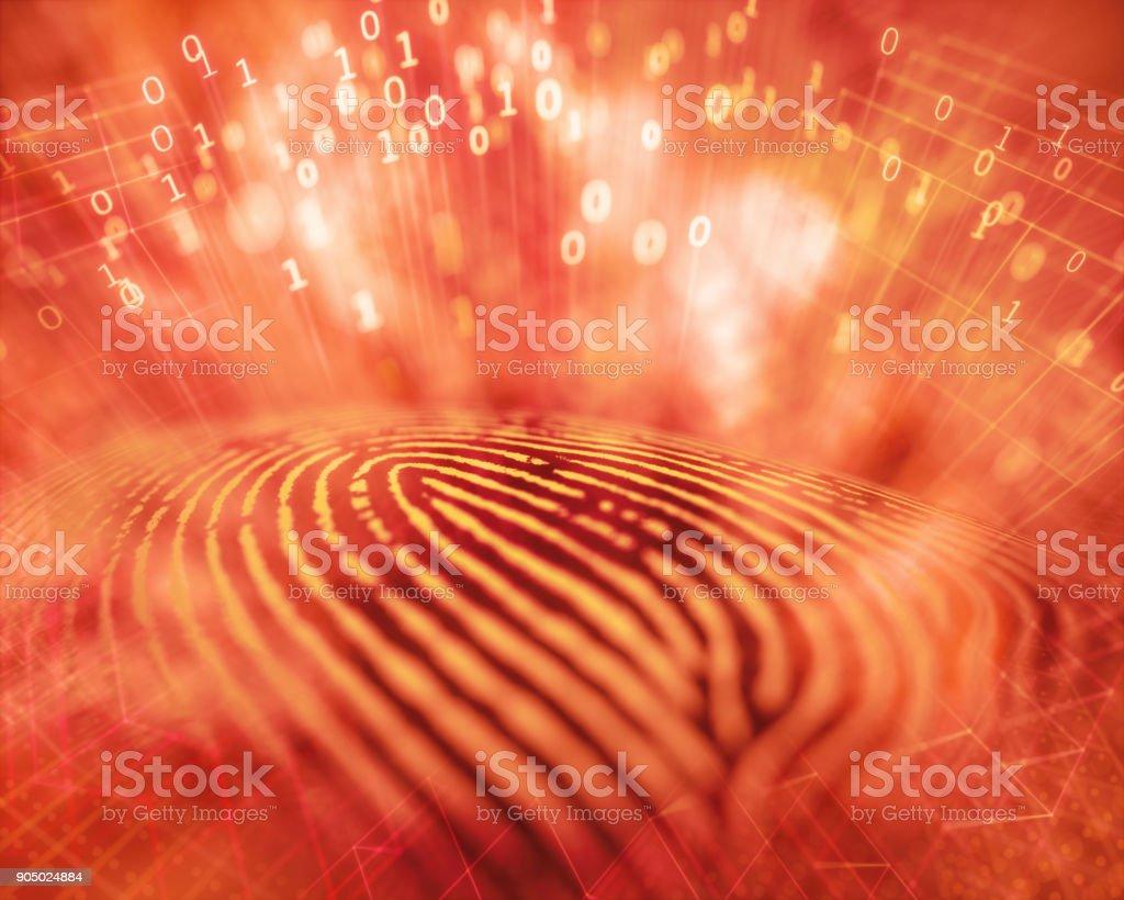Fingerprint Hacker Access stock photo