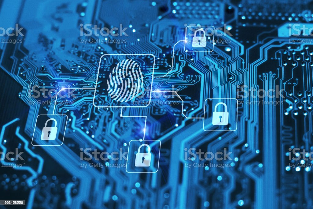 Fingerprint login authorization and cyber security concept. Blue integrated circuit with locks on background. Control access and authentication online. Fingerprint login authorization and cyber security concept. Blue integrated circuit with locks on background. Control access and authentication online. Accessibility Stock Photo