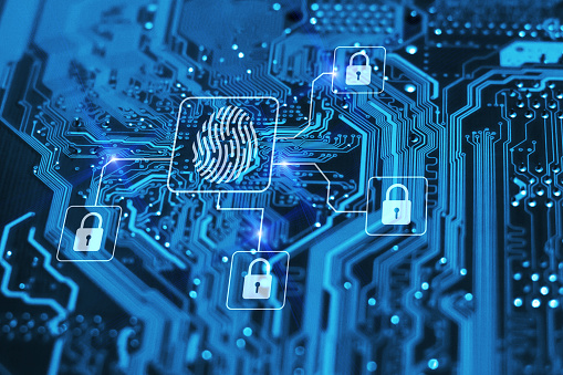 Fingerprint Login Authorization And Cyber Security Concept Blue Integrated Circuit With Locks On Background Control Access And Authentication Online Stock Photo - Download Image Now