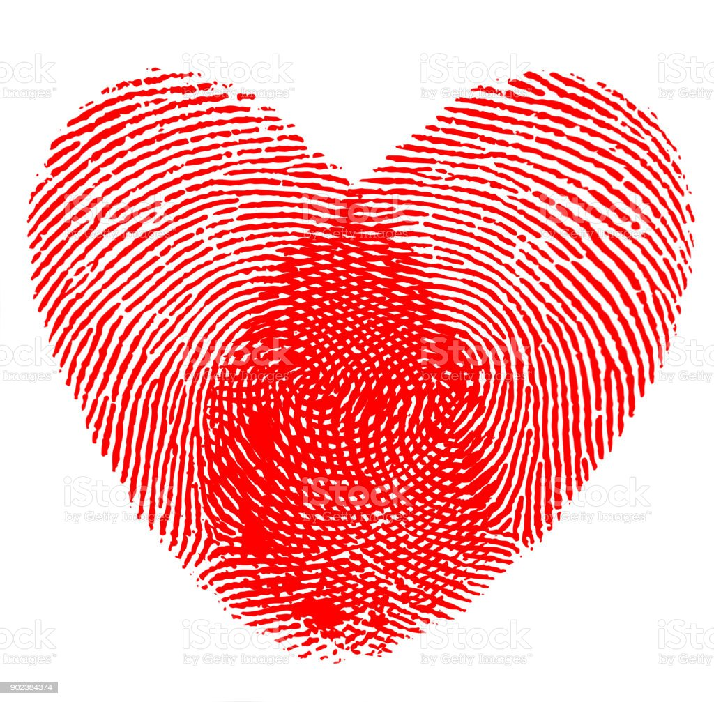 Fingerprint Love Heart. Valentine's day stock photo