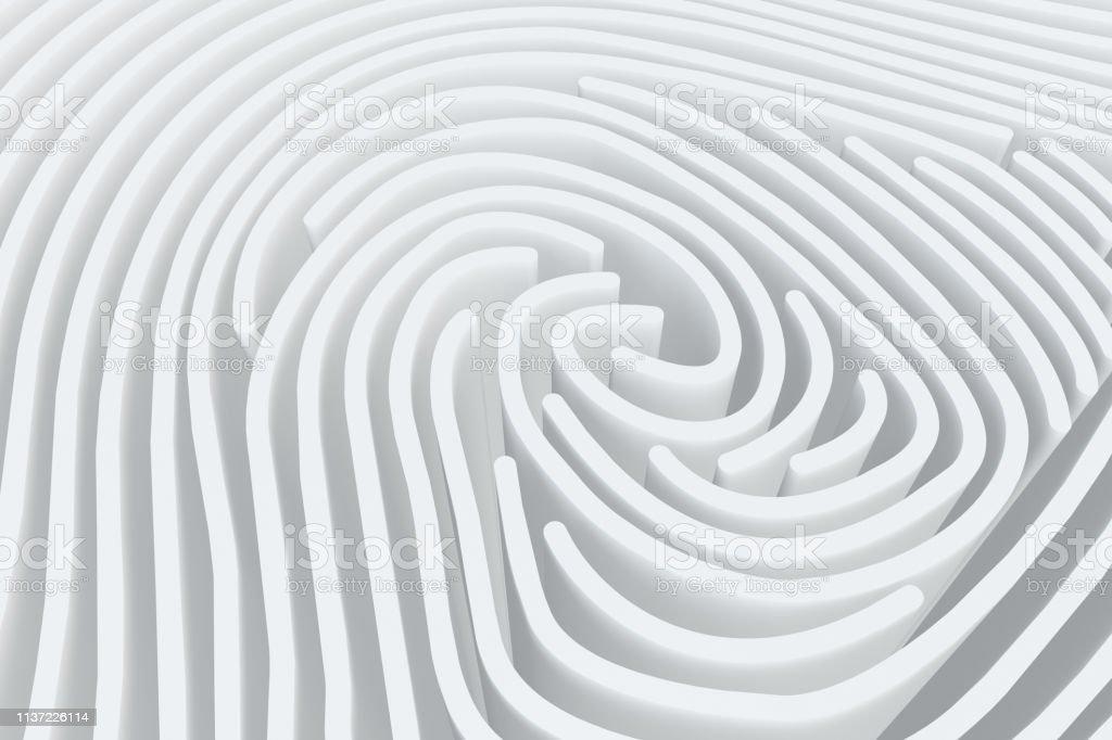 3D Fingerprint Maze 3D rendering of Fingerprint. Thumbprint, Data, Pattern, Security System. 3D Scanning Stock Photo