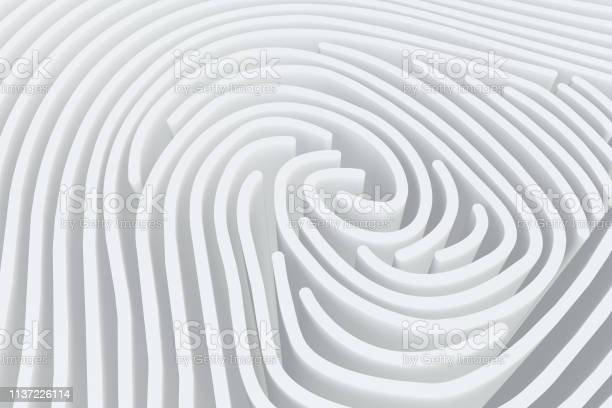 3d Fingerprint Maze Stock Photo - Download Image Now