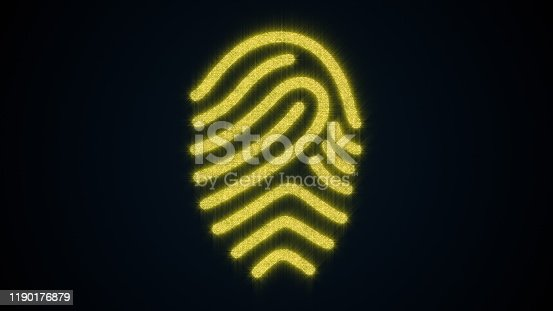 671053272 istock photo Fingerprint of shining particles. Computer generated background. 3d rendering of concept scanning a fingerprint on a digital screen 1190176879