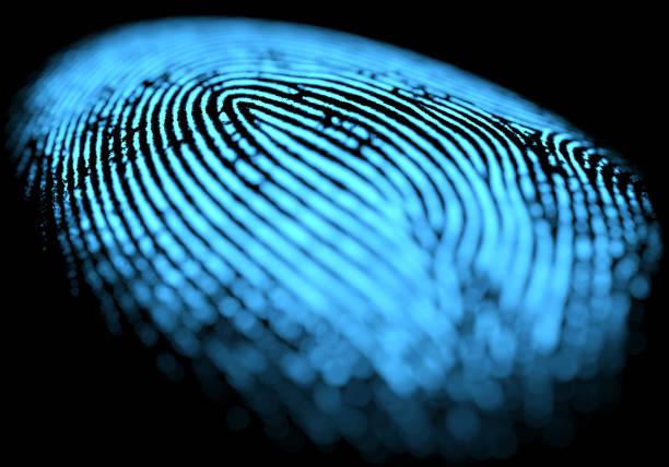 fingerprint over black - fingerprint stock photos and pictures