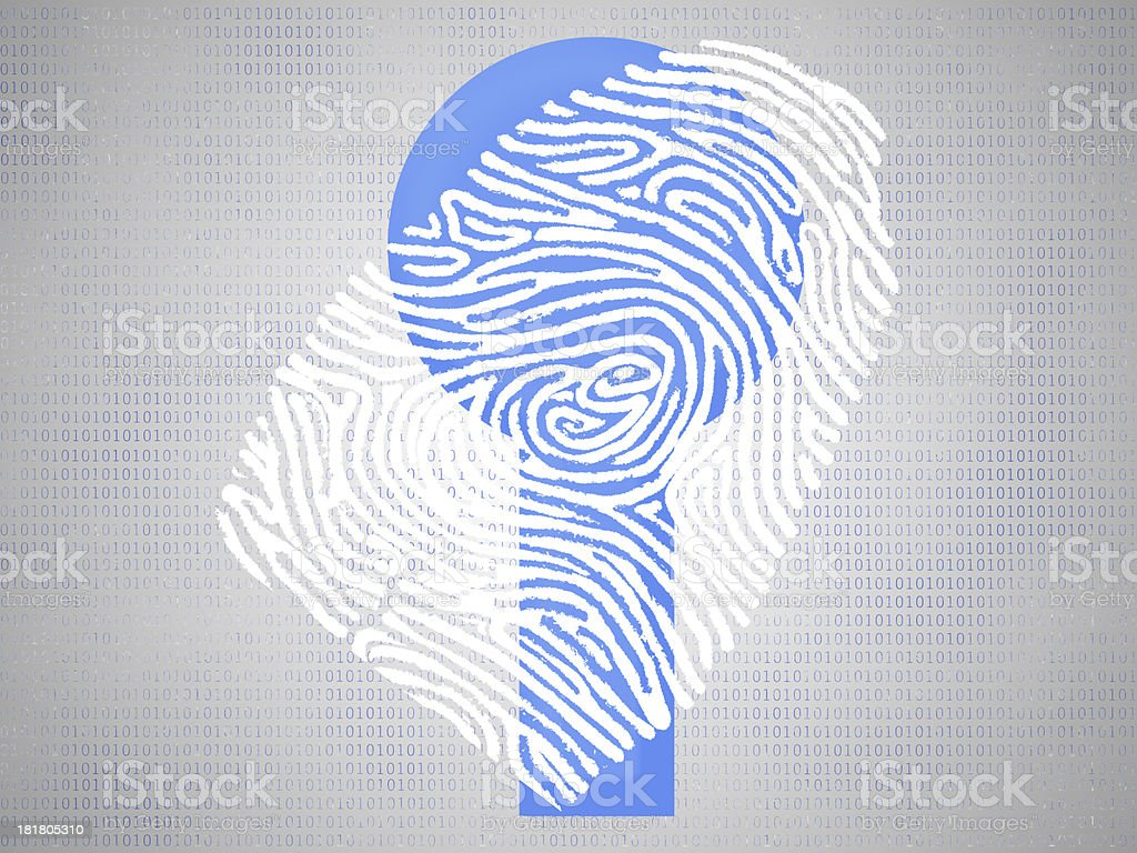 Fingerprint over keyhole and programming code royalty-free stock photo