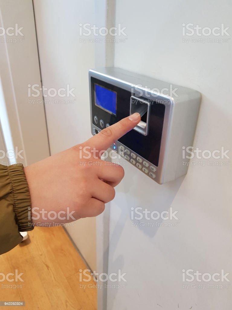Fingerprint recognition door lock stock photo