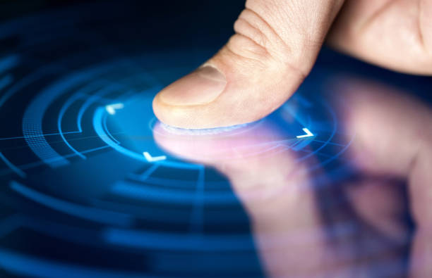 fingerprint recognition technology for digital biometric cyber security and identification. finger print scan for authentication, safety and privacy. - fingerprint stock photos and pictures