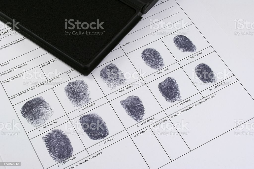 fingerprint record with ink pad royalty-free stock photo
