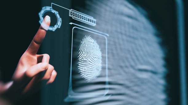 Fingerprint scan Fingerprint scan - 3d rendered image. Person unlocking with fingerprint scan using biometrics.  Security concept. biometrics stock pictures, royalty-free photos & images
