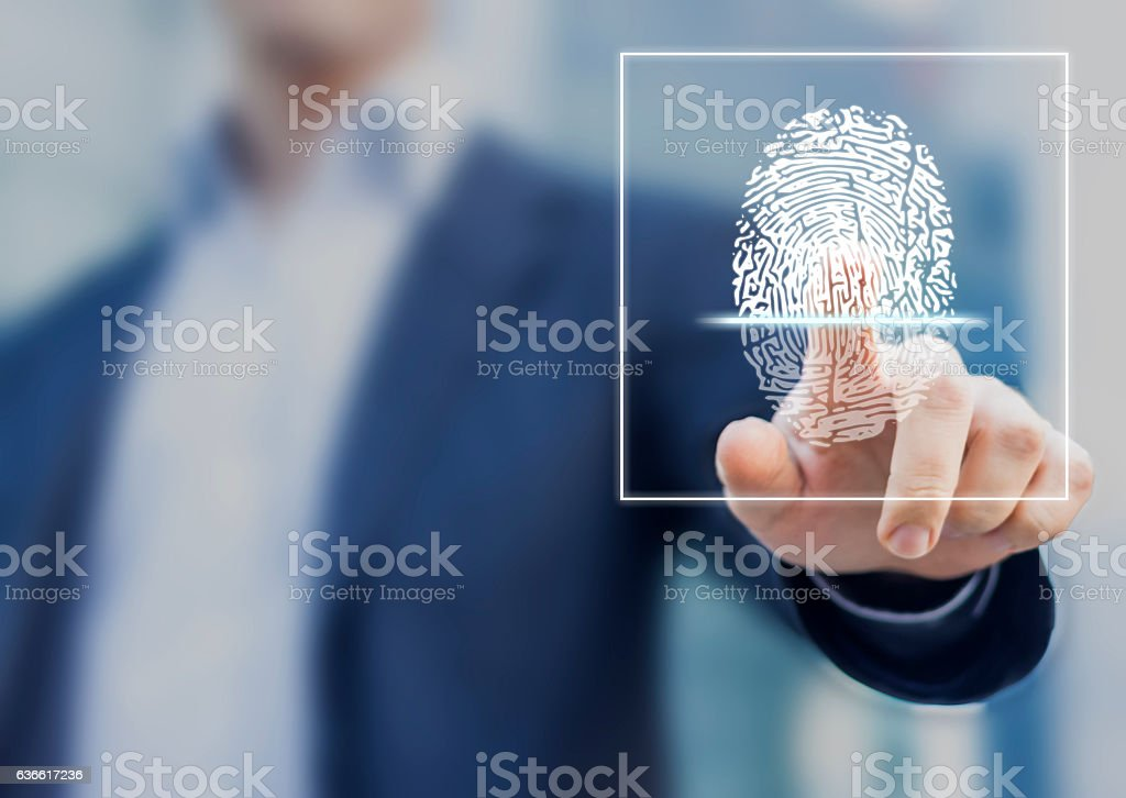 Fingerprint scan provides security access with biometrics identification - foto de acervo