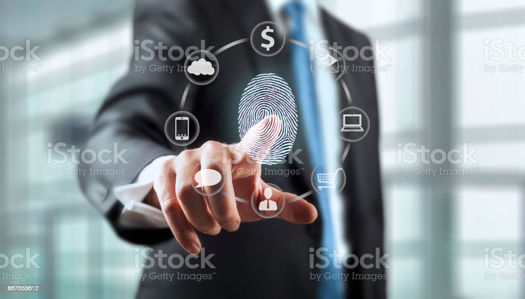 Fingerprint Scan Security System stock photo