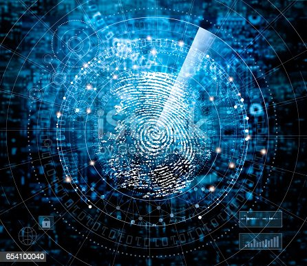 Fingerprint scanning and searching identity check on blue cyber tech background, technology and safety concept