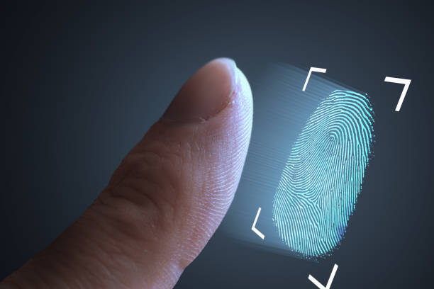 Fingerprint scanning from finger. Technology, security and biometric concept. stock photo