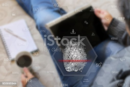896596886 istock photo Fingerprint scanning. Identify Fingerprint on the touch screen with a blur the girl with the gadget, background .The concept of Secure access through fingerprint scanning to the network 935695944