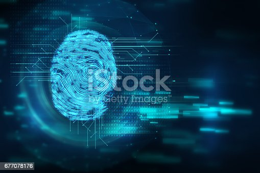 istock Fingerprint Scanning on blue technology  Illustration 677078176