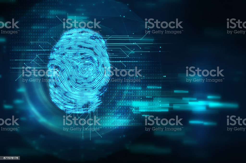 Fingerprint Scanning on blue technology  Illustration stock photo